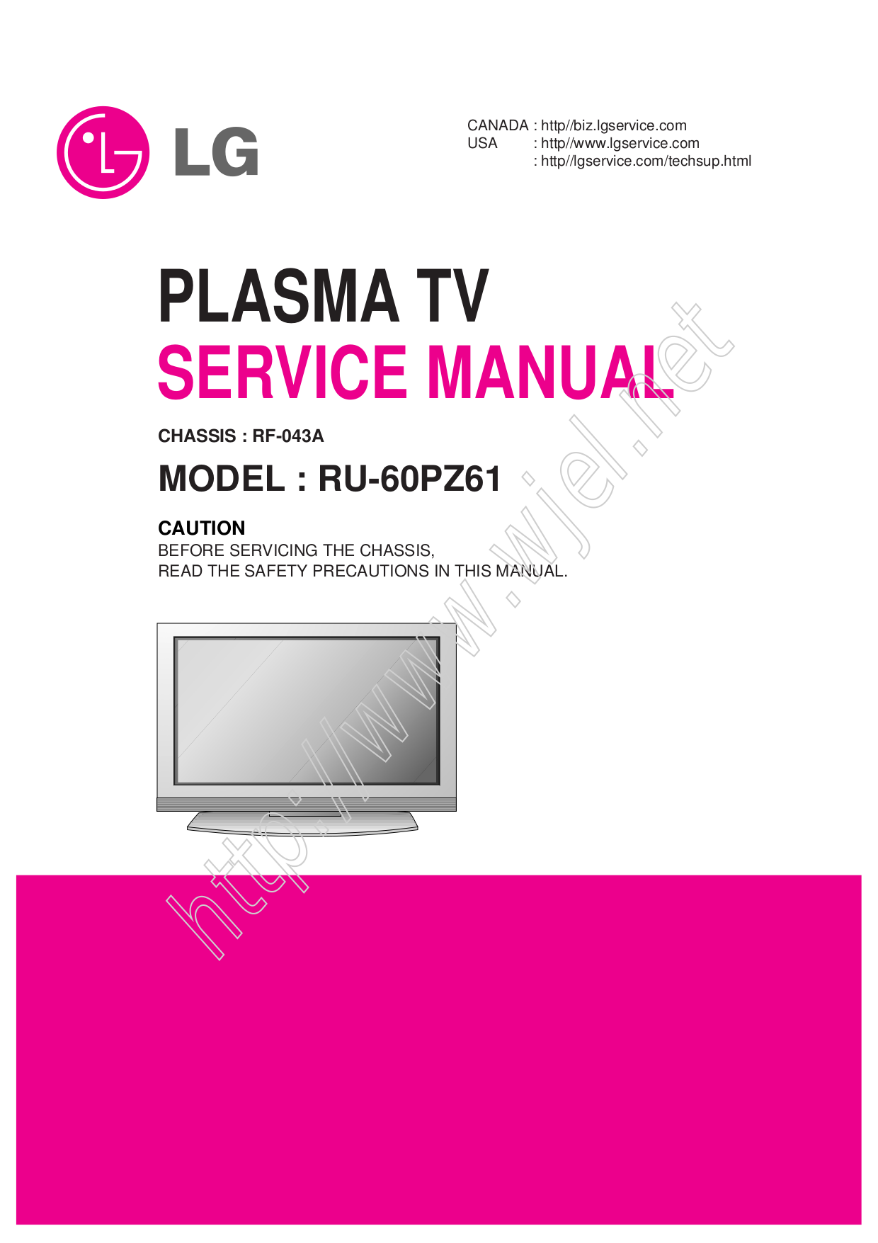 pdf for LG TV DU-60PZ60 manual