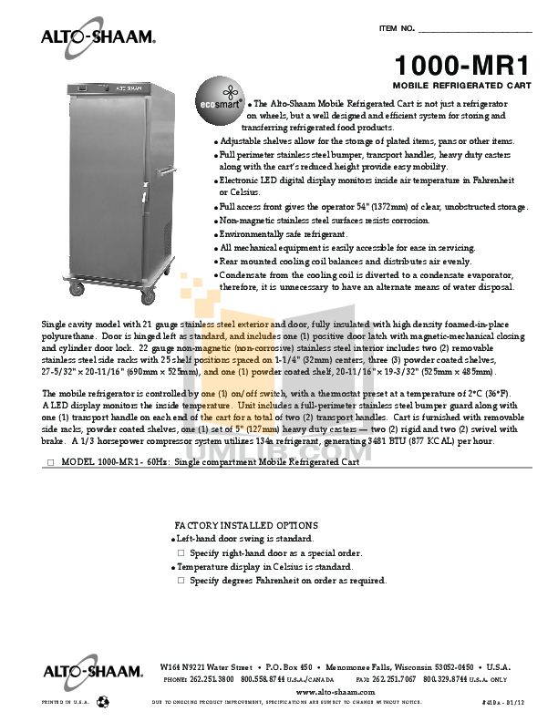 pdf for AltoShaam Other 1000-MR1 Coolers manual