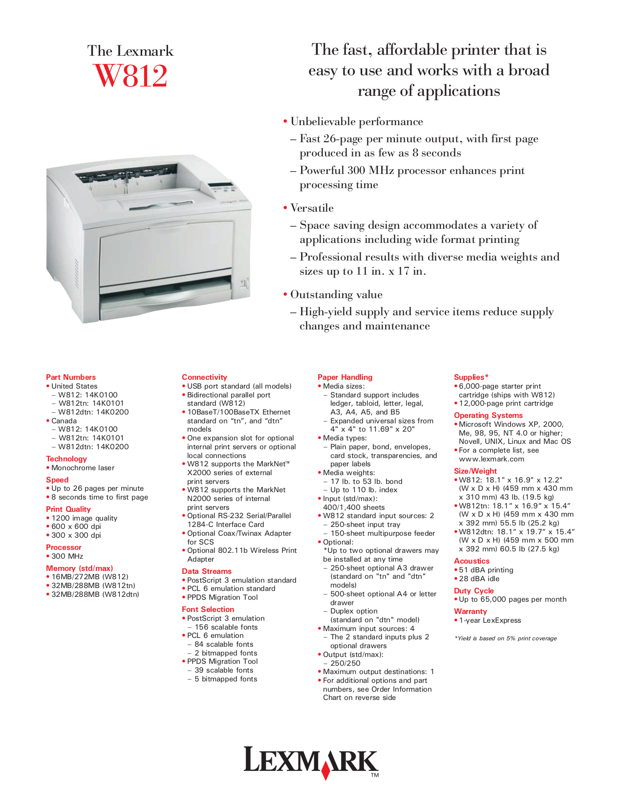 pdf for Lexmark Printer W812 manual