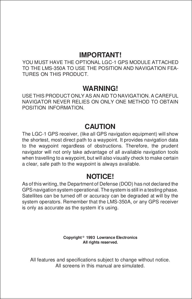 Lowrance GPS LMS-10 Loran-C pdf page preview