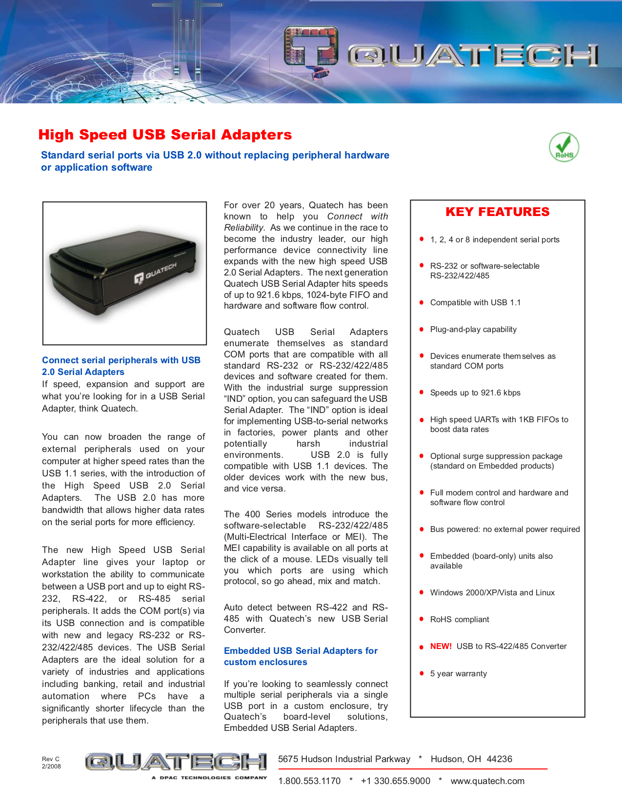 pdf for Quatech Other QSU-100-EMB Adapters manual
