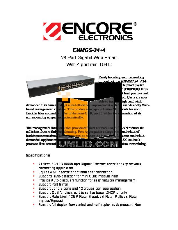 pdf for Encore Switch EN-MGS24 manual
