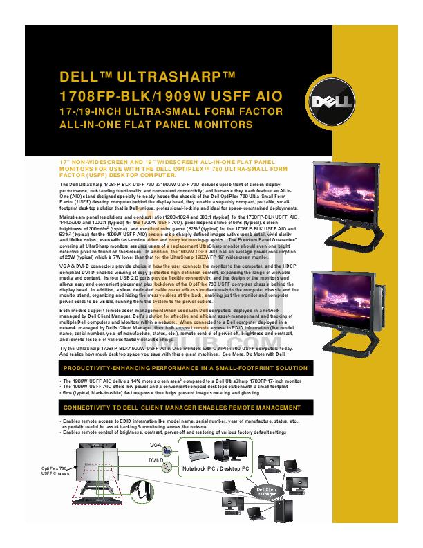 pdf for Dell Monitor UltraSharp 1708FP manual