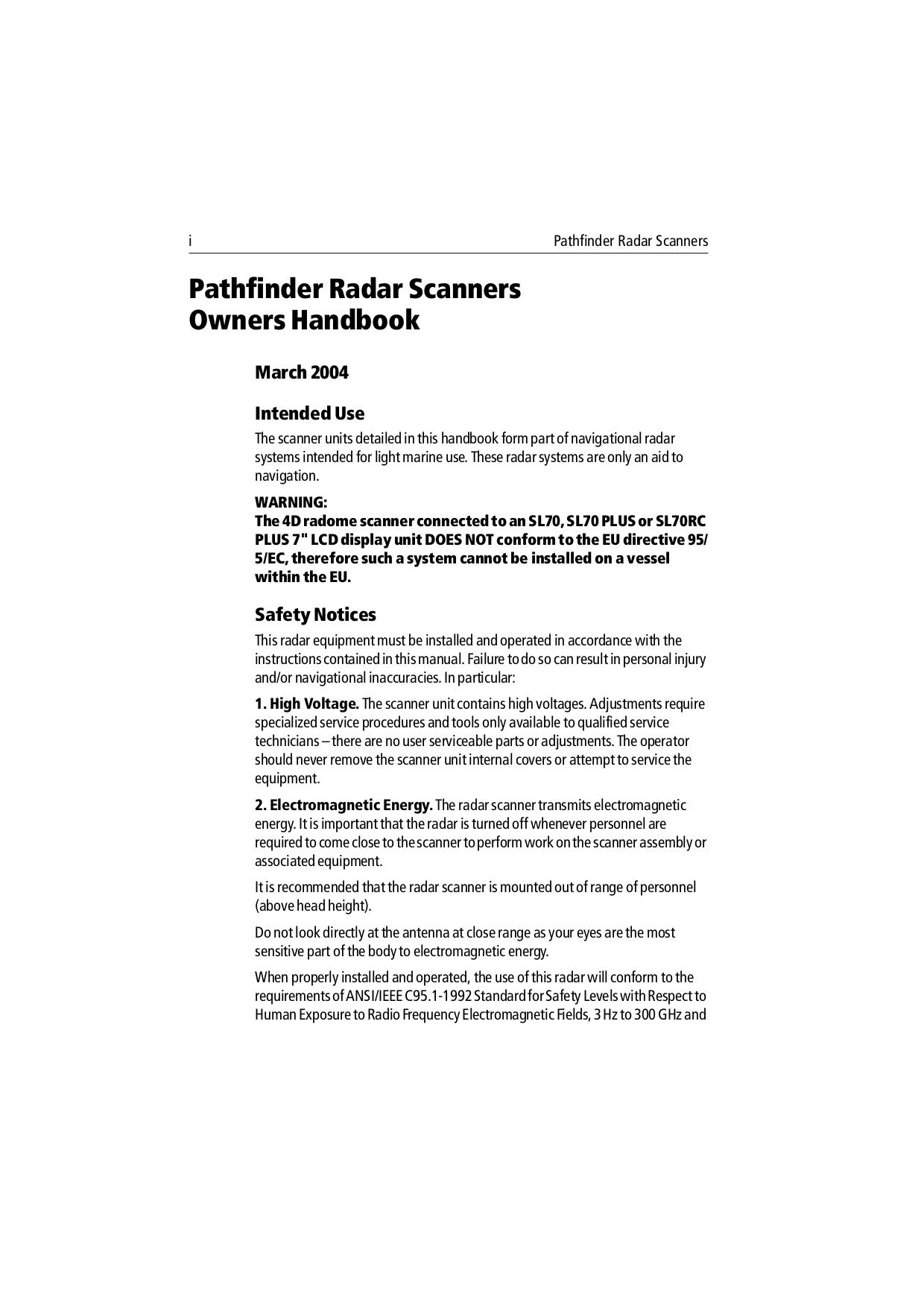 PDF manual for Raymarine Other RL80C Radar