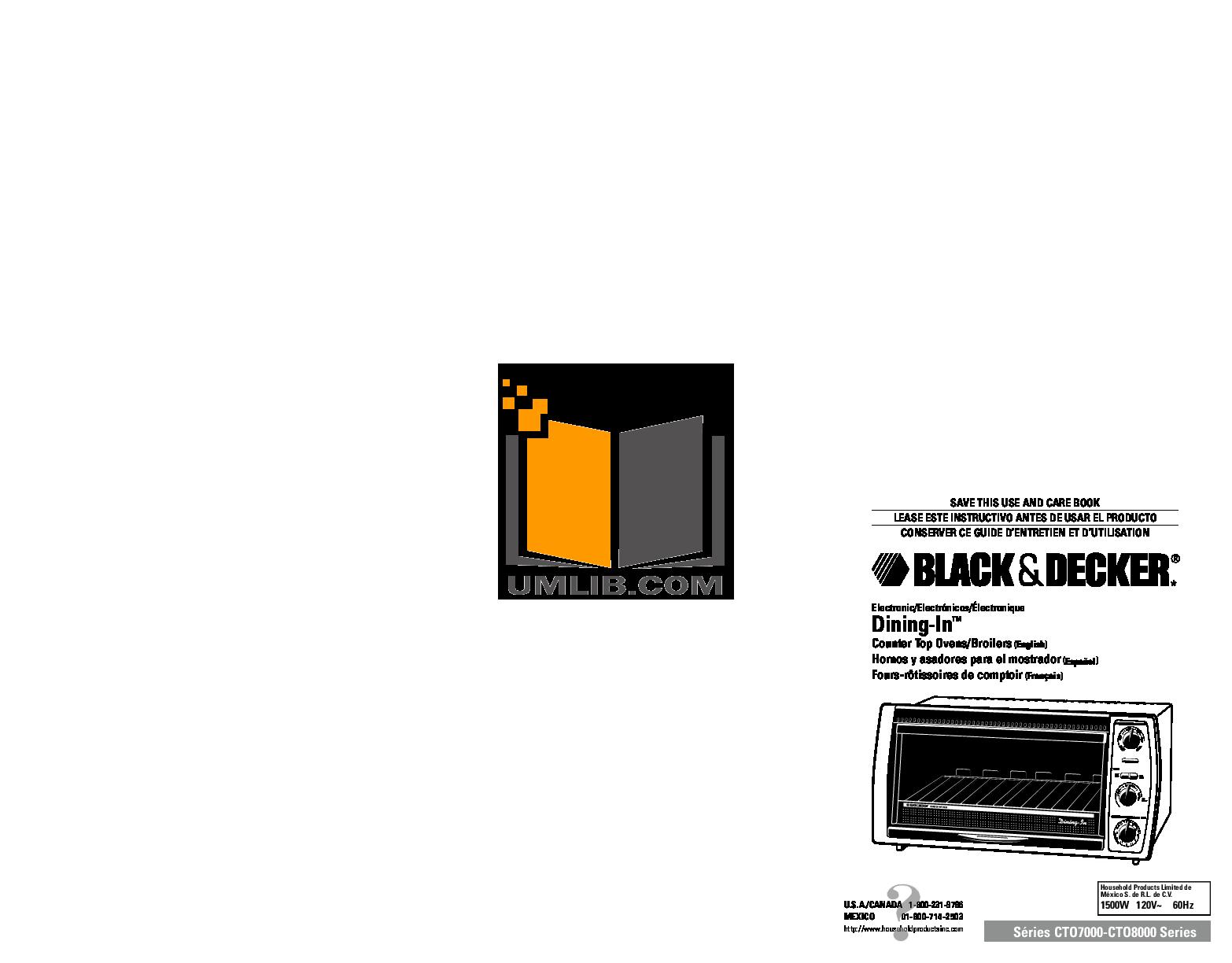 pdf for BlackAndDecker Oven CTO7000 manual