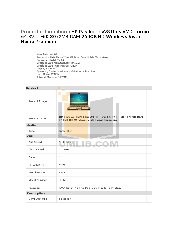 pdf for HP Laptop Pavilion DV2810 manual