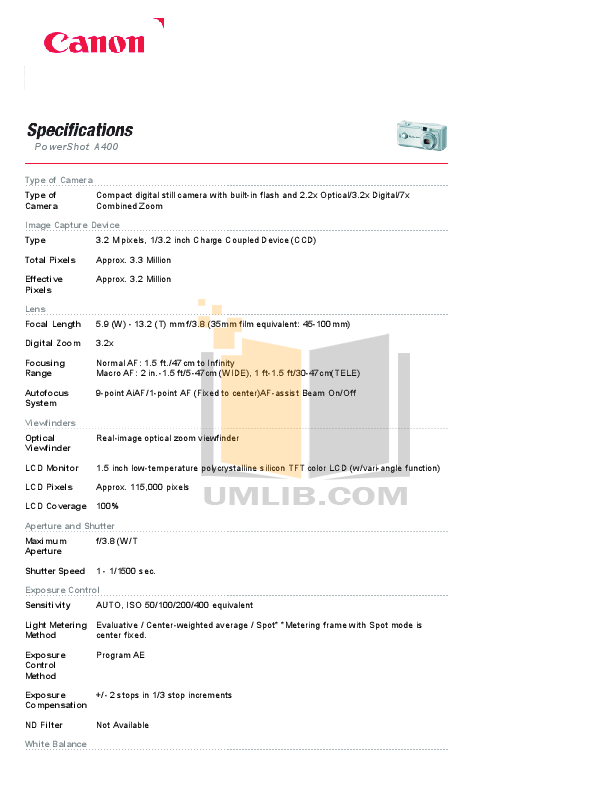 pdf for Canon Digital Camera Powershot A400 manual