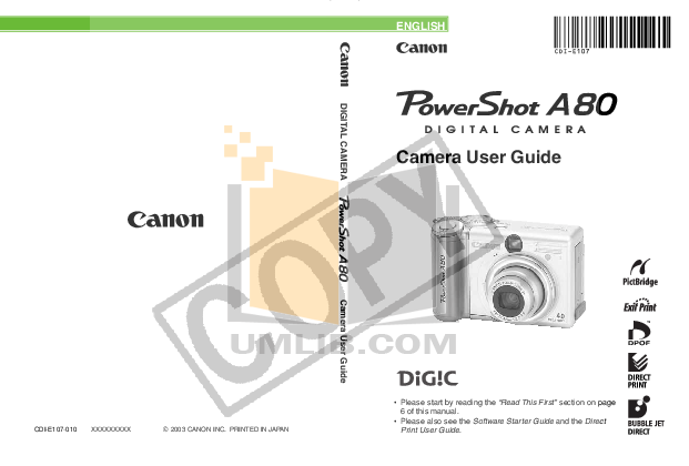 Canon Digital Camera Powershot A400 pdf page preview