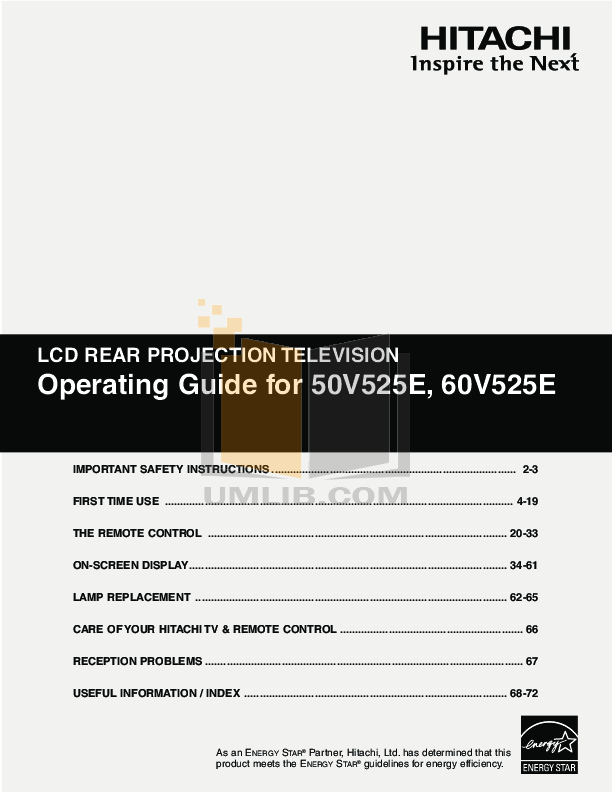 pdf for Hitachi TV 50V525E manual