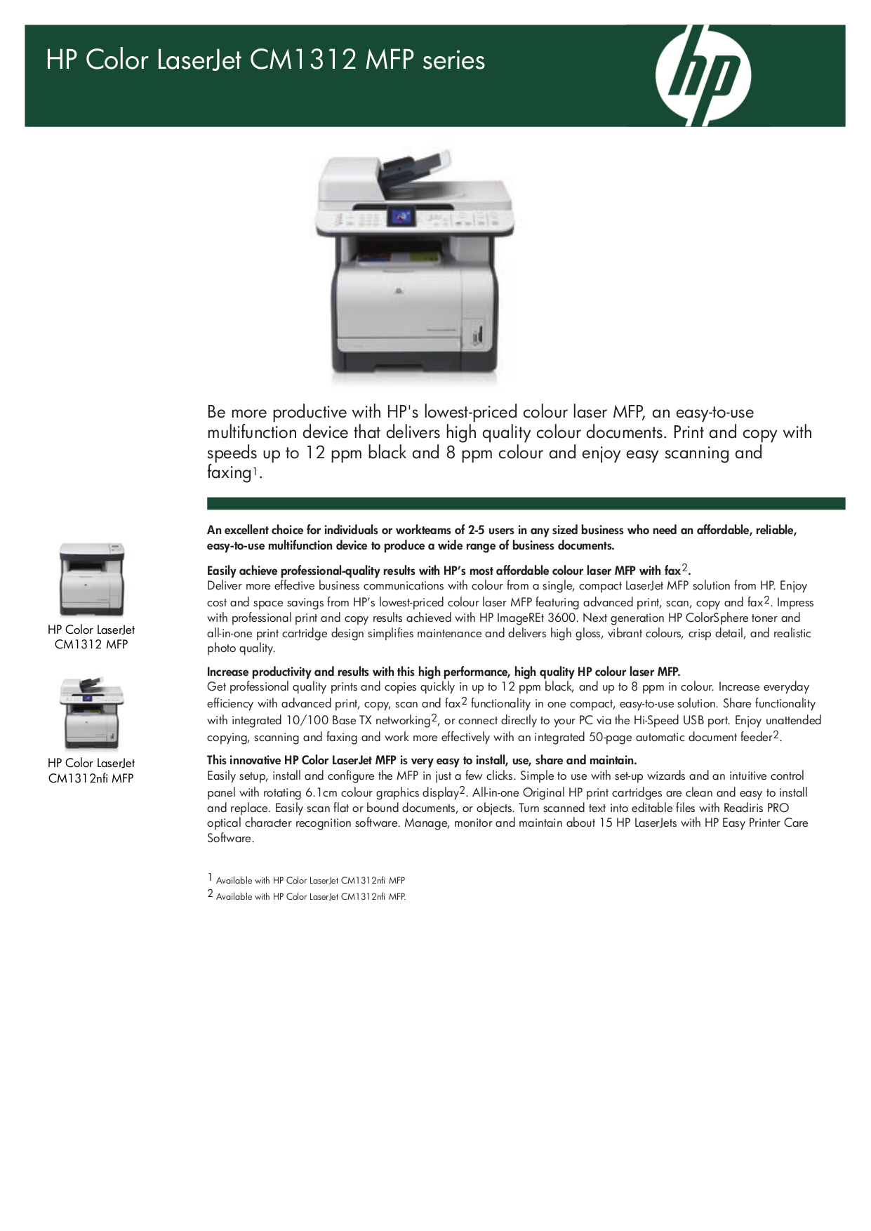 pdf for HP Multifunction Printer Laserjet,Color Laserjet CM1312 manual