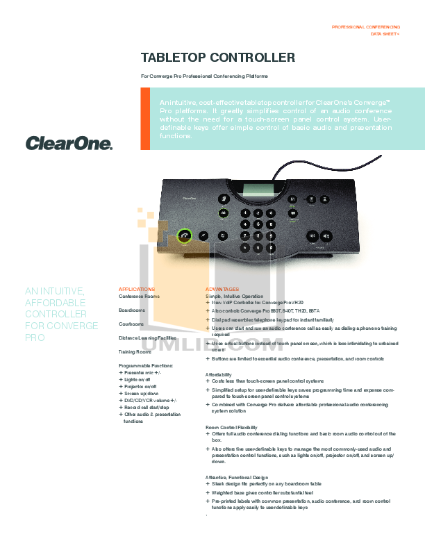 pdf for ClearOne Telephone Converge Pro 880T manual