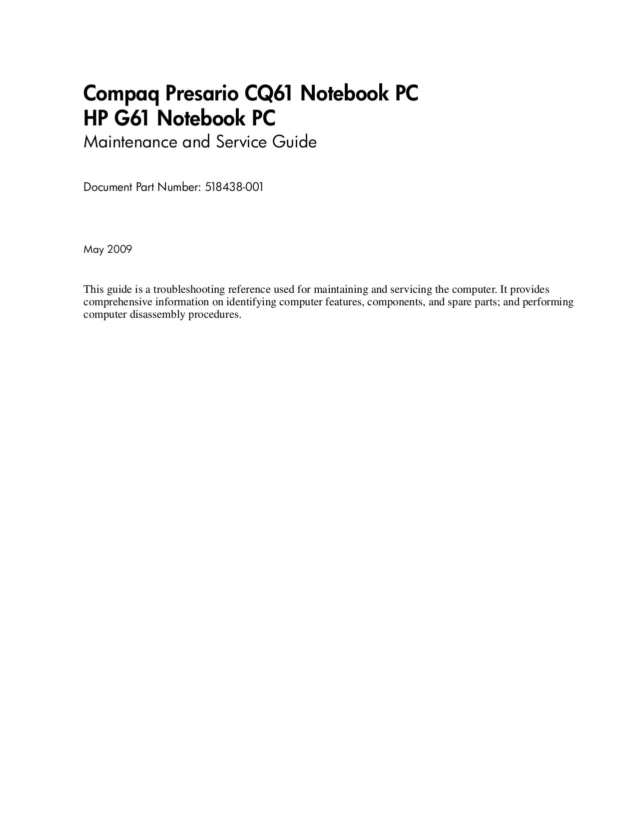 download free pdf for hp compaq presario presario q2009 monitor manual rh umlib com compaq cq61-420us service manual