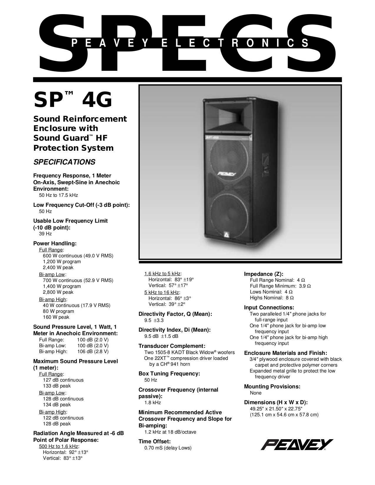 download free pdf for peavey sp 4g speaker manual rh umlib com peavey 115h speakers manual peavey 215 speaker manual