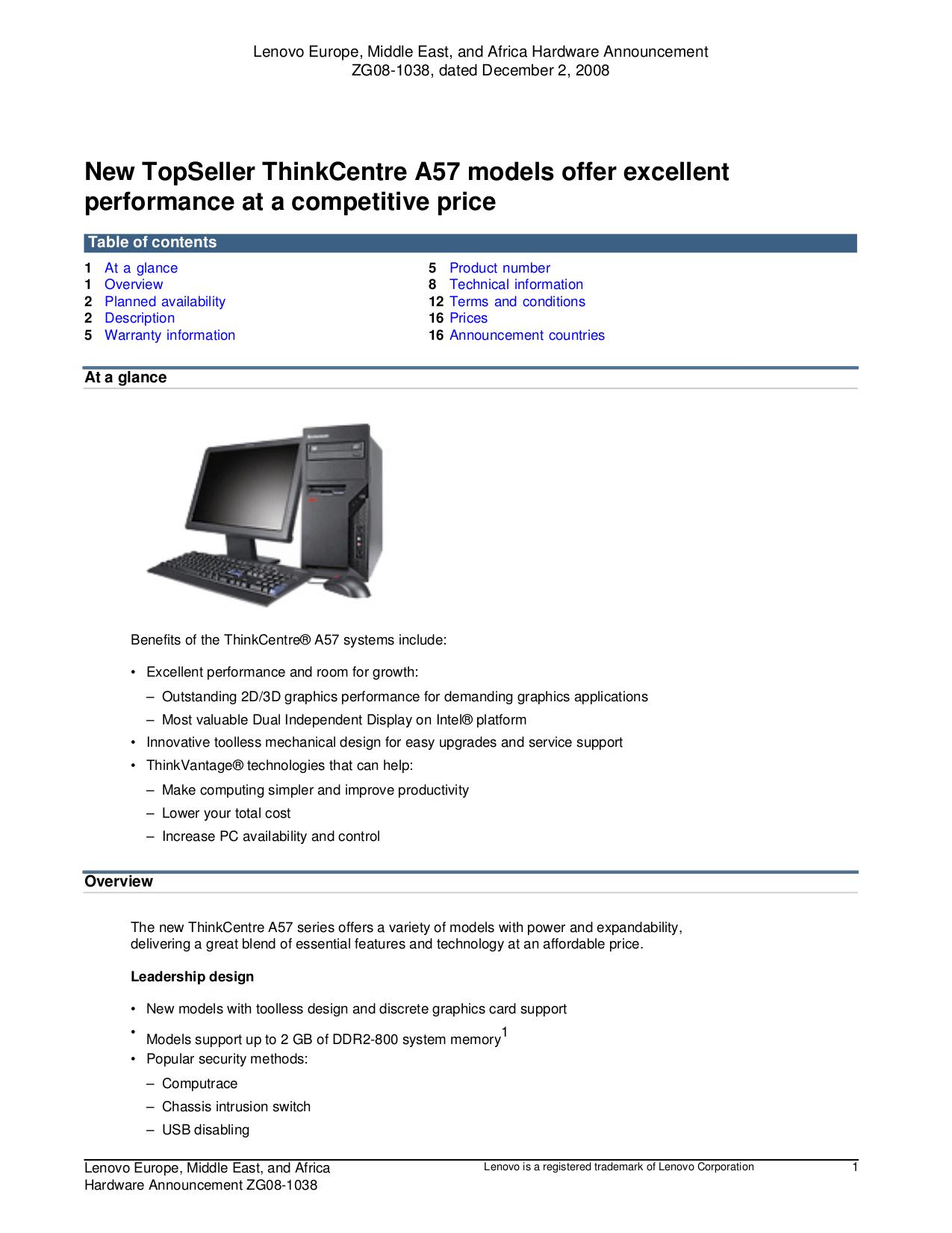 pdf for Lenovo Desktop ThinkCentre A57 9859 manual
