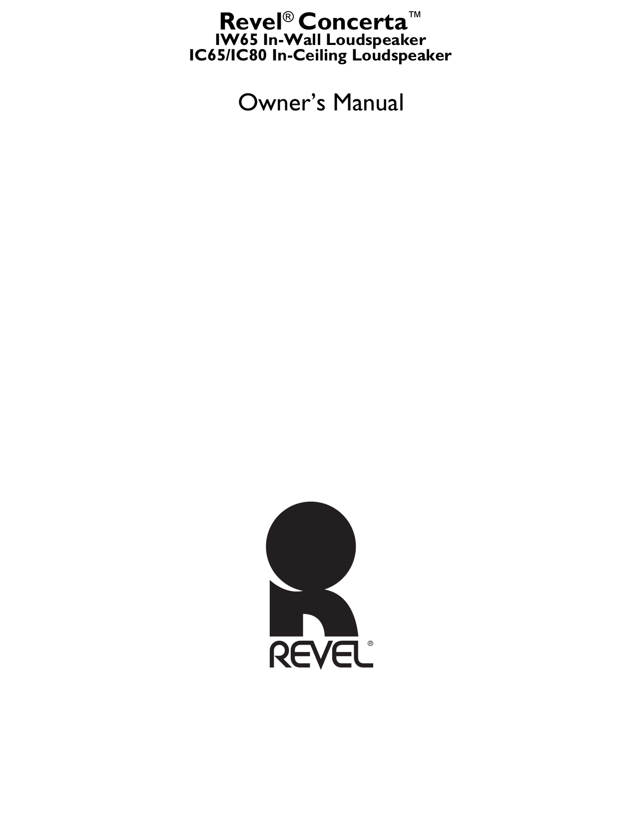 pdf for Revel Speaker Concerta IW65 manual