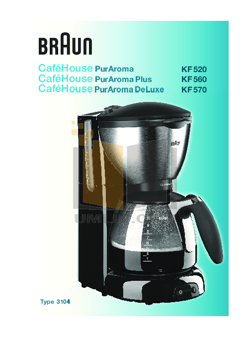 pdf for Braun Coffee Maker KF520 manual