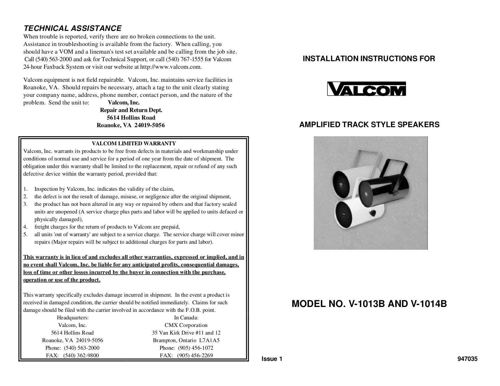 pdf for Valcom Speaker V1013B manual
