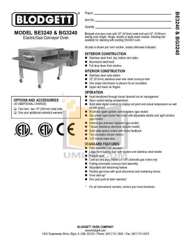 pdf for Blodgett Oven BE3240 DOUBLE manual