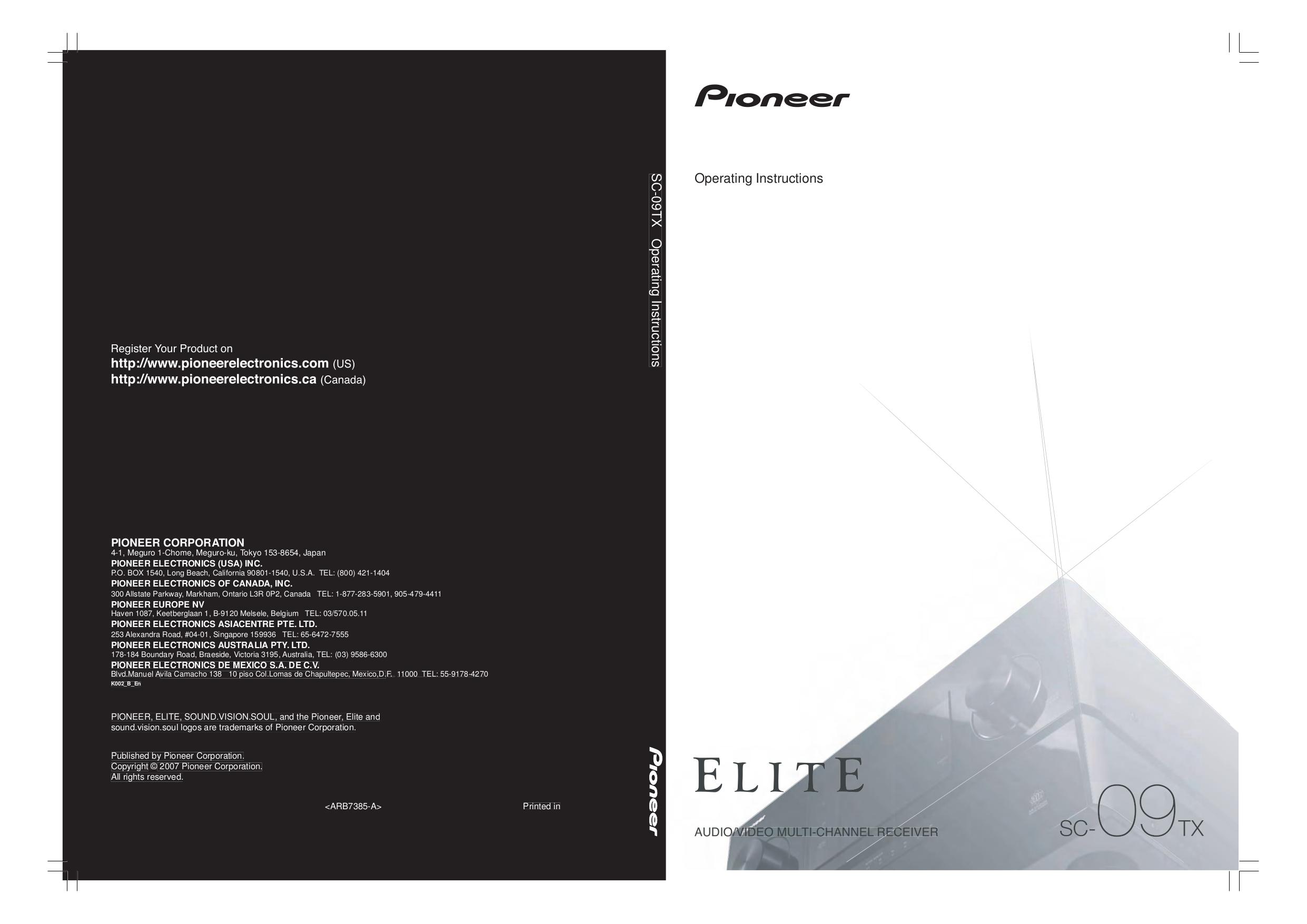 pioneer elite sc 61 manual
