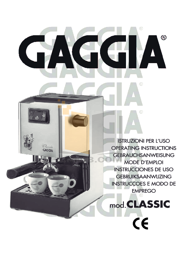 Download Free Pdf For Gaggia Gd One Coffee Maker Manual