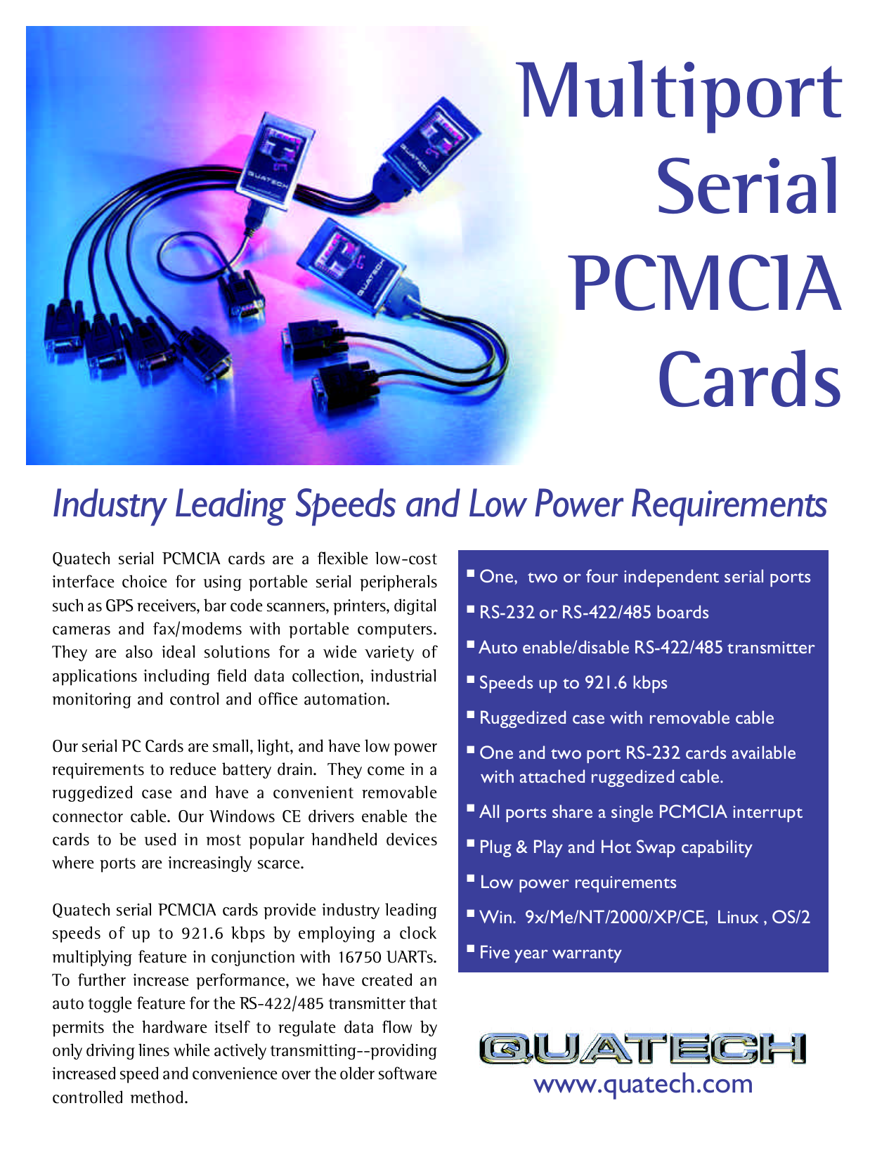 pdf for Quatech Other SSP-100 PCMCIA Cards manual