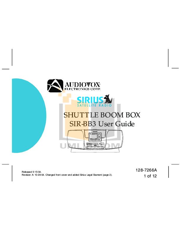 pdf for Audiovox Satellite Radio SIR-PNP3 manual
