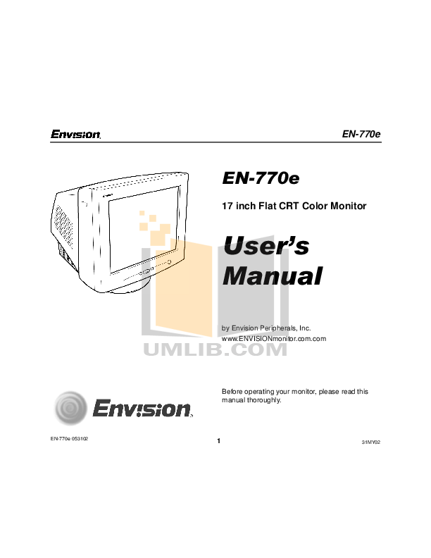 pdf for Envision Monitor EN770e manual