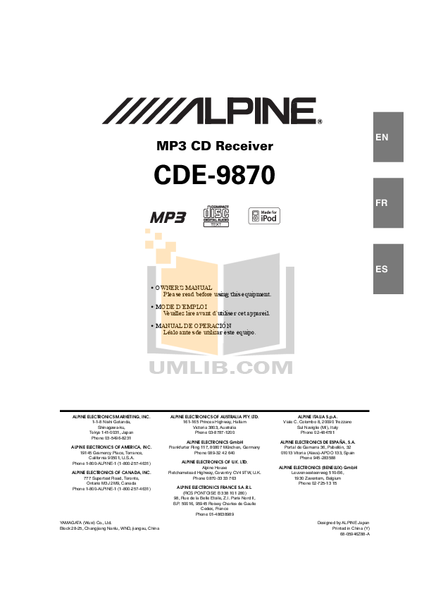 download free pdf for alpine cde 9870 car receiver manual rh umlib com Alpine 9847 alpine cde-9870 rm manual