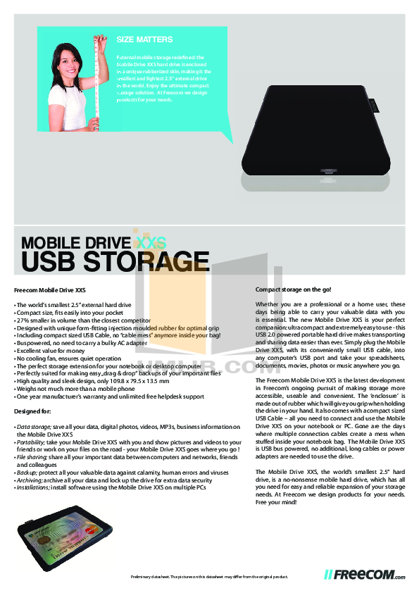 pdf for Freecom Storage Mobile Drive manual