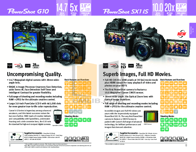 Canon Digital Camera Powershot SD990 IS pdf page preview