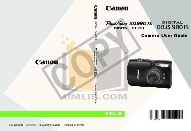 pdf for Canon Digital Camera Powershot SD990 IS manual