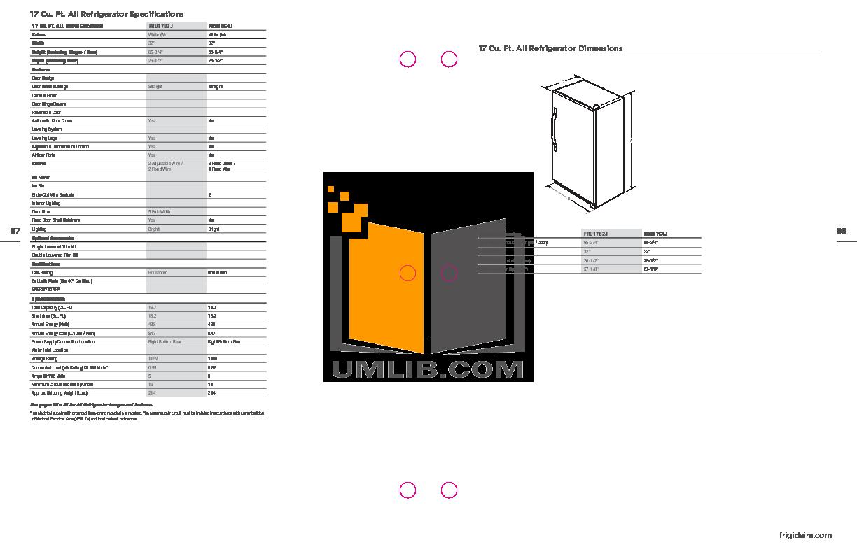pdf for Frigidaire Refrigerator FRU17B2J manual
