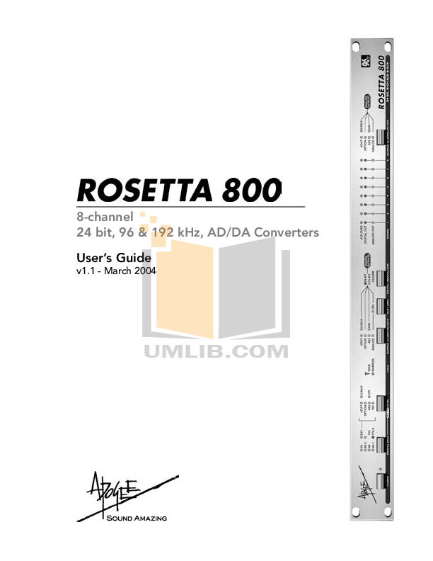 pdf for Apogee Other Rosetta 800 Converters manual