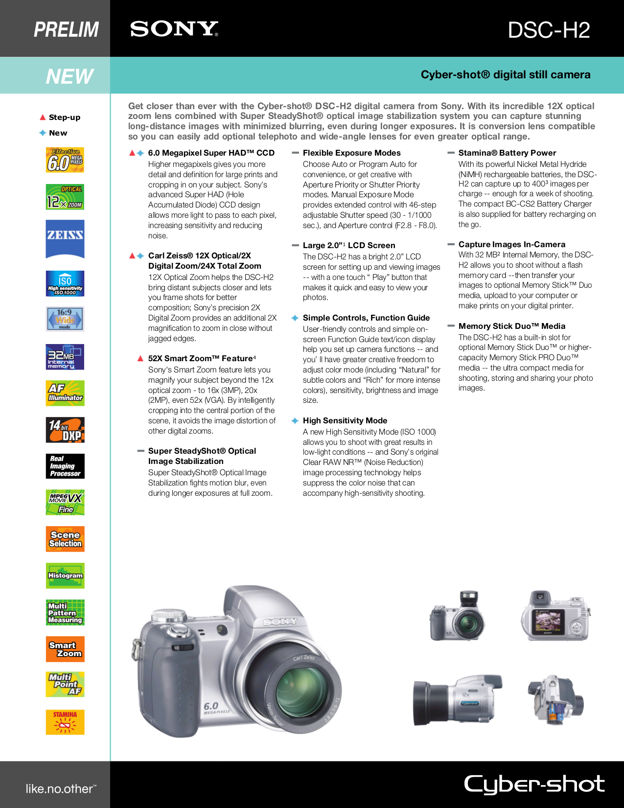 pdf for Sony Digital Camera Cybershot,Cyber-shot DSC-H2 manual