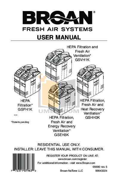 pdf for Broan-NuTone Other GSVH1K Air Purifiers manual