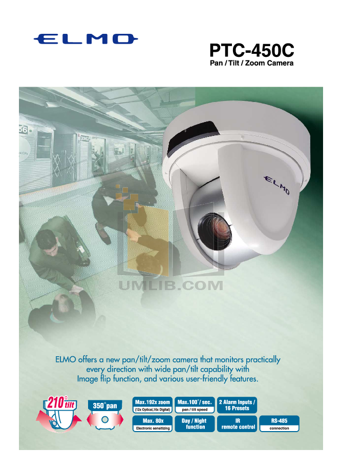 pdf for Elmo Security Camera PTC-100S manual