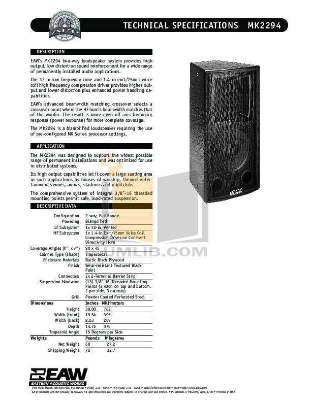 pdf for Eaw Speaker System MK2294 manual