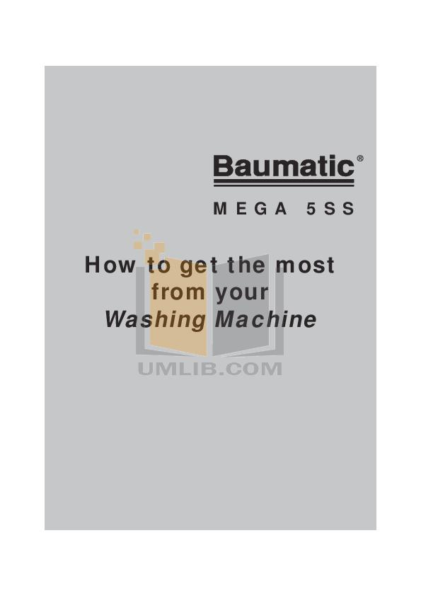 pdf for Baumatic Washer MEGA5SS manual