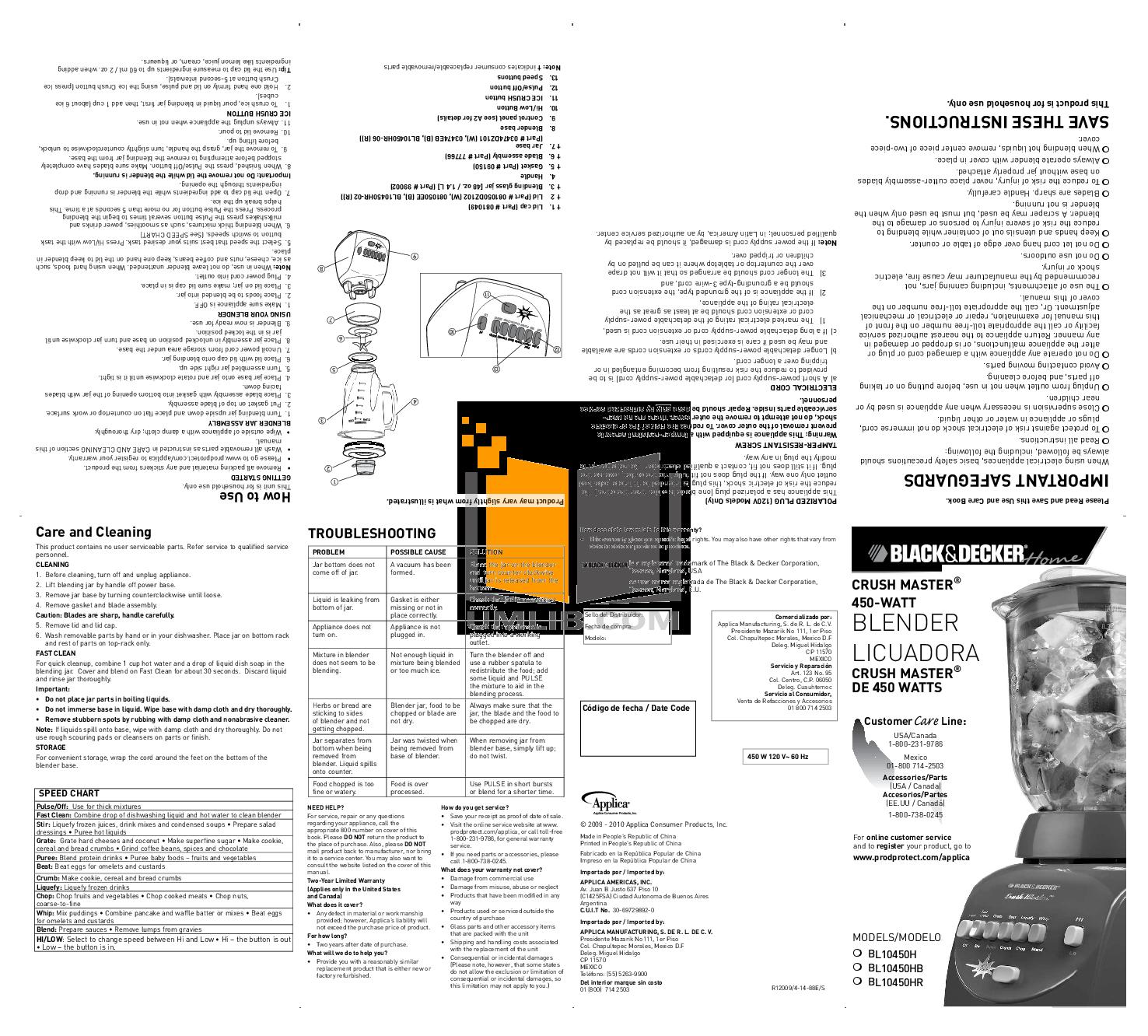 pdf for BlackAndDecker Blender BL10450H manual