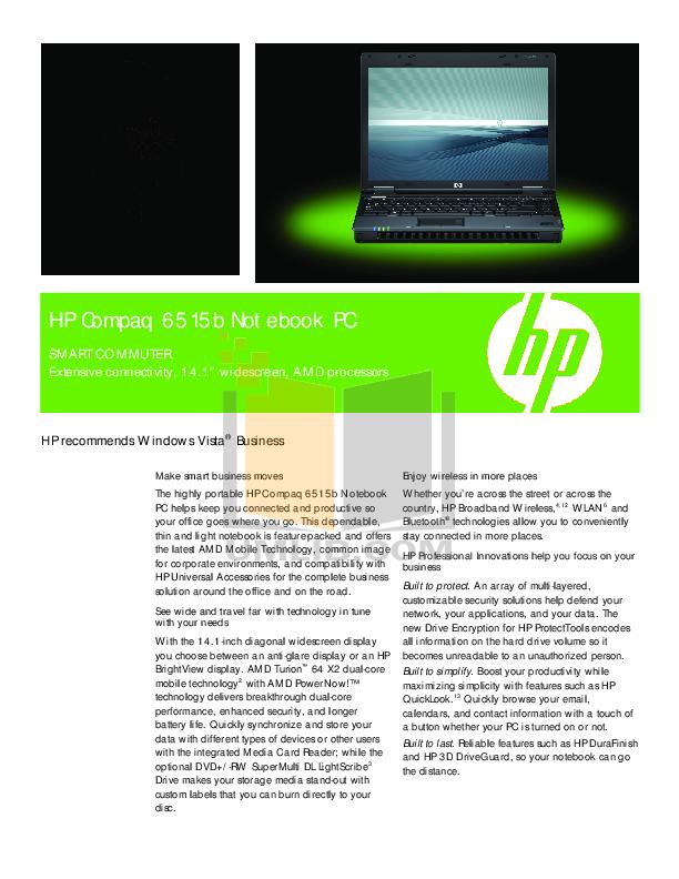 Hp compaq 6515b manuals.