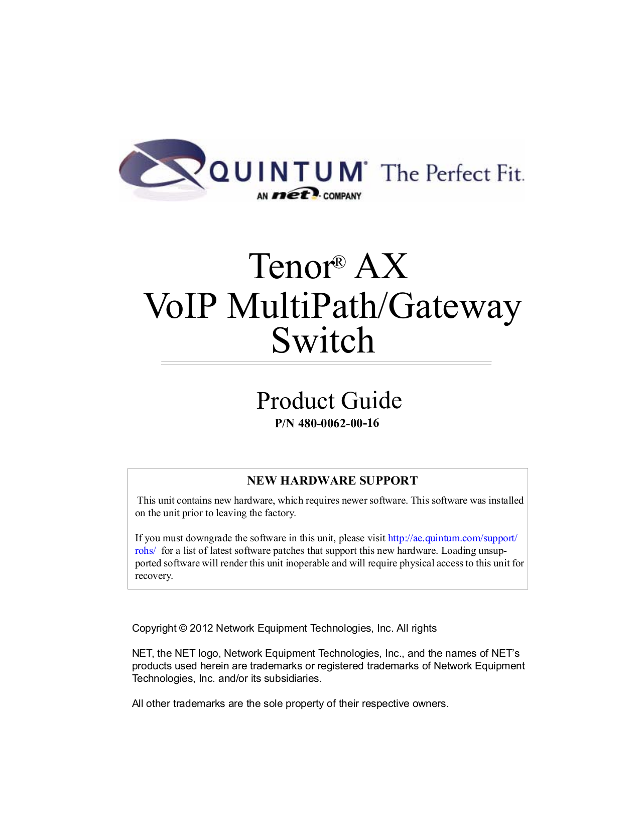 pdf for Quintum Switch AX Series AXM2400 manual