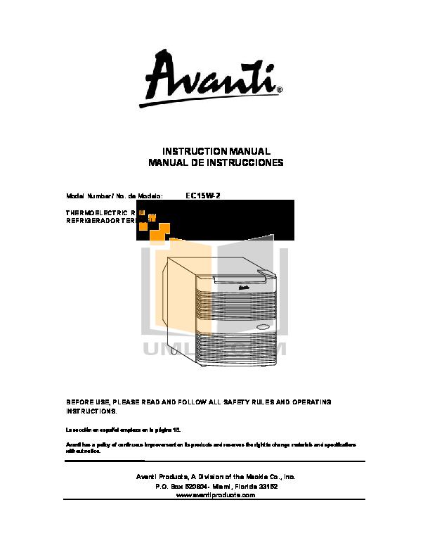 pdf for Avanti Refrigerator EC15W-2 manual
