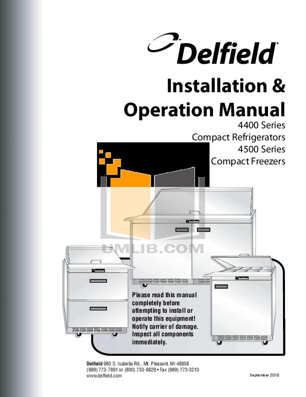pdf for Delfield Refrigerator UC4472N-18M manual