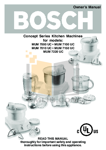 pdf for Bosch Food Processor MUM7100UC manual