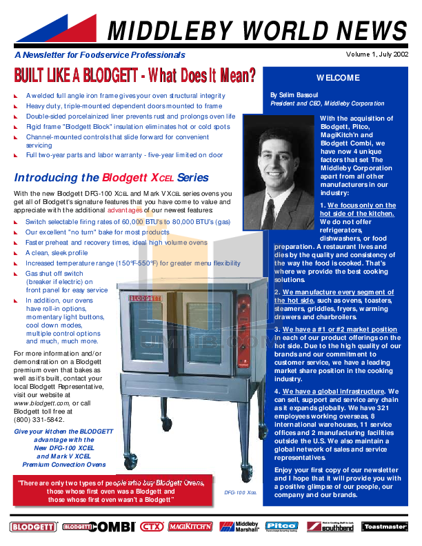 pdf for Blodgett Oven DFG100 ADDL manual