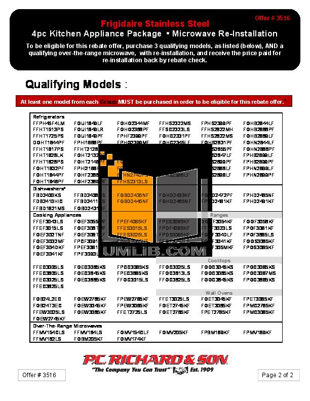 Frigidaire Refrigerator FGUI1849LF pdf page preview