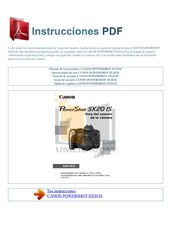 canon powershot sx20 is manual pdf