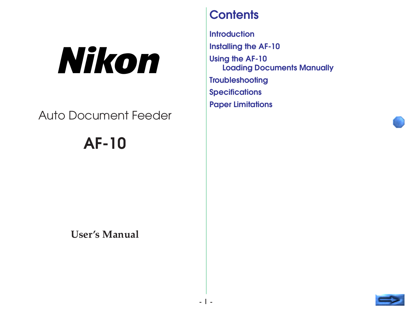 pdf for Nikon Other AF-10 Auto Document Feeder manual