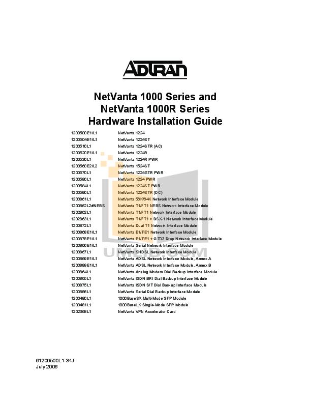 pdf for ADTRAN Switch NetVanta 1224R manual