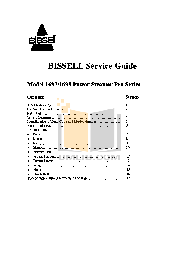 pdf for Bissell Vacuum 1697-W manual